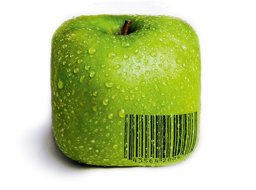A single green apple in the shape of a square isolated on white with water droplets on it. A generic (not real) barcode printed on the apple.